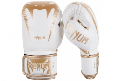 GIANT 3.0 BOXING GLOVES - NAPPA LEATHER - WHITE/GOLD VENUM