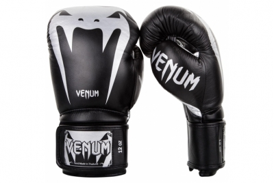 GIANT 3.0 BOXING GLOVES - NAPPA LEATHER - BLACK/SILVER VENUM