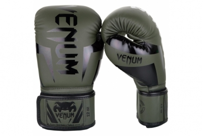 ELITE BOXING GLOVES - KHAKI/BLACK VENUM