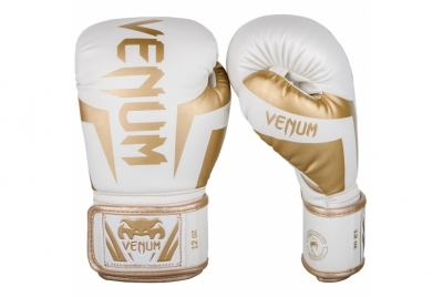 ELITE BOXING GLOVES - WHITE/GOLD VENUM