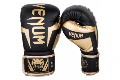ELITE BOXING GLOVES - BLACK/GOLD VENUM