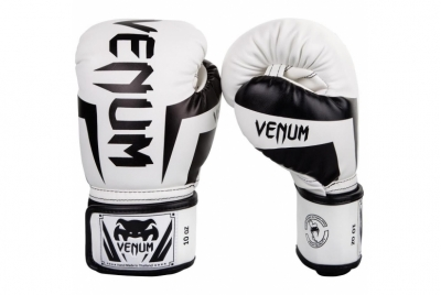 ELITE BOXING GLOVES - WHITE/BLACK VENUM
