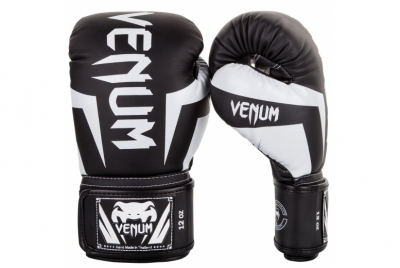 ELITE BOXING GLOVES - BLACK/WHITE VENUM