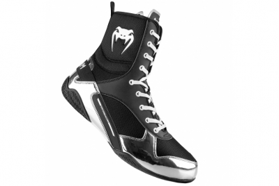 ELITE BOXING SHOES - BLACK/SILVER VENUM