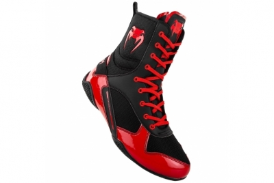 ELITE BOXING SHOES - BLACK/RED VENUM