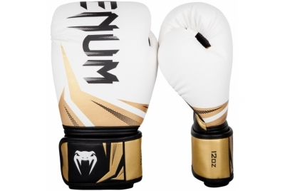 CHALLENGER 3.0 BOXING GLOVES - WHITE/BLACK-GOLD VENUM