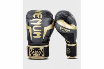 VENUM ELITE BOXING GLOVES - DARK CAMO/GOLD