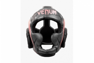 VENUM ELITE BOXING HEADGEAR - BLACK/PINK GOLD